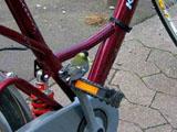 Meise sitzt auf einer Fahrradpedale